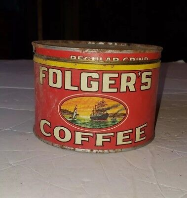 Vintage 1931  FOLGERS COFFEE REGULAR GRIND 1 Lb. CAN
