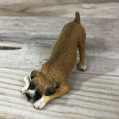 Sandicast Uncropped Fawn Boxer Dog Chewing Bone Desk Figurine Statue NEW
