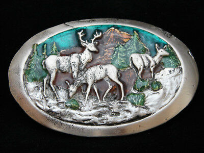 NH07101 VINTAGE 1970s **DEER IN MOUNTAIN FOREST** PEWTER BELT BUCKLE