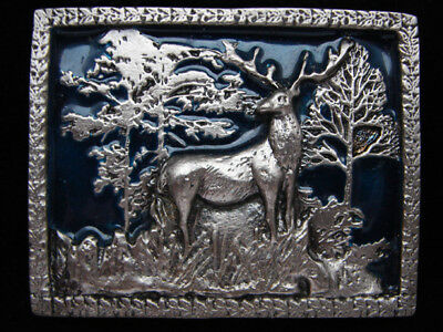 PD17104 VINTAGE 1970s **ELK STANDING IN FOREST** PEWTER INSTYLE BELT BUCKLE
