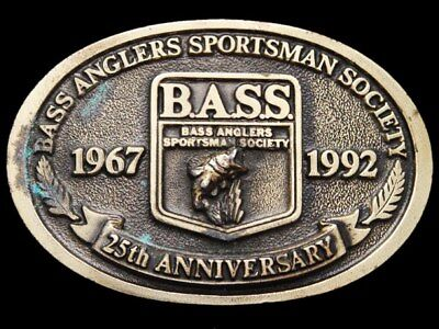 IH03142 VINTAGE 1992 **BASS ANGLERS SPORTSMAN SOCIETY** 25th ANNIVERSARY BUCKLE