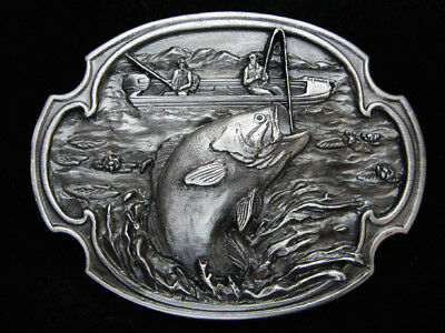 Pb05129 *Nos* Vintage 1984 **Large Mouth Bass Fishing** Pewter Siskiyou Buckle