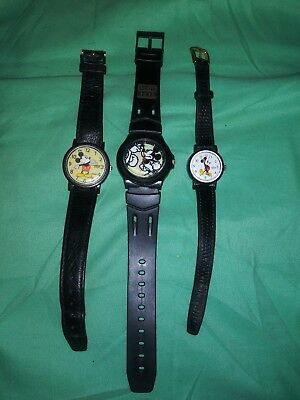 Lot of 3 Vintage Mickey Mouse Watches Disney