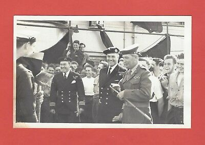 SUEZ CRISIS GENERAL HUGH STOCKWELL ON HMS ALBION AIRCRAFT CARRIER 1950's PHOTO