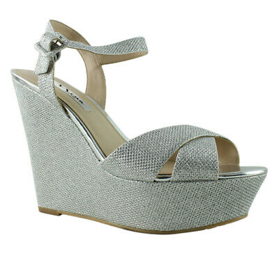772e721fb89 NINA WOMENS SILVER Ankle Strap Sandals Size 8 (364980) -  16.23 ...
