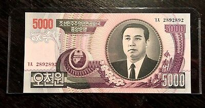 RARE! 2006 N KOREA 5000 WONS REPEATED DIGIT *2892892*  KIM Il-Sung UNC+