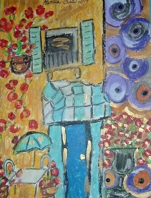 Original Diner painting art Artist By PB oil fealism impressionist abstract