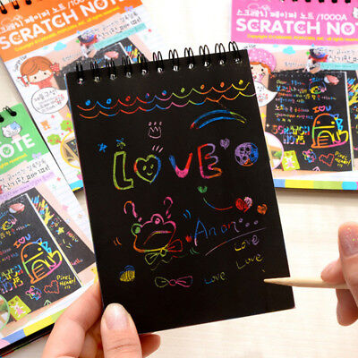 Office & School Supplies Colorful Magic Scratch Drawing Art Painting Paper Notebook Kids Children Educational Learning Stick Toys 12.7cm X 17.2cm Notebooks & Writing Pads
