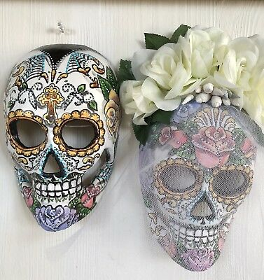 Sugar Skull Bride And Groom Mask Day Of The Dead Flowers Hand Painted Calavara