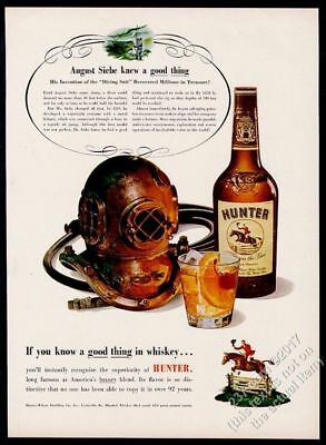 1952 Siebe diving helmet deep sea diver Hunter Whiskey vintage print ad