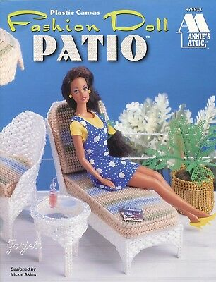Fashion Doll Patio ~ fits Barbie dolls, Annie's plastic canvas pattern booklet