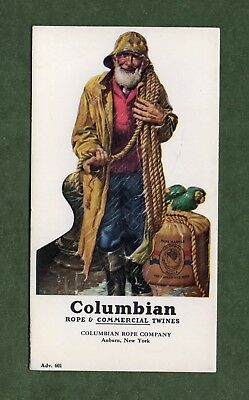 "COLUMBIAN ROPE Ink Blotter #601 - 3¼""x6"", Fisherman in Raincoat, Great Cond"