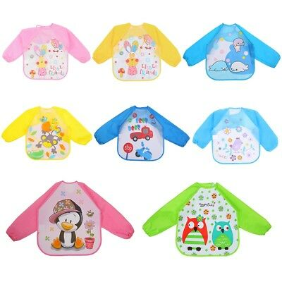 Cute Baby Reverse wear Waterproof Long Sleeve Bibs Food Feeding Apron Smock