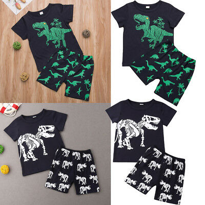 2019 Boys Kids Animals Print Dinosaur Clothes Outfit Top+Shorts Pants Girls Sets