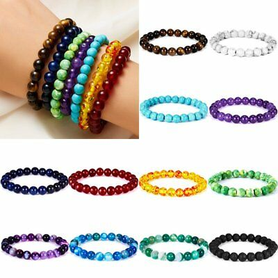 Punk Women Men Healing Beaded Bracelet Natural Lava Stone Elastic Bangle Jewelry