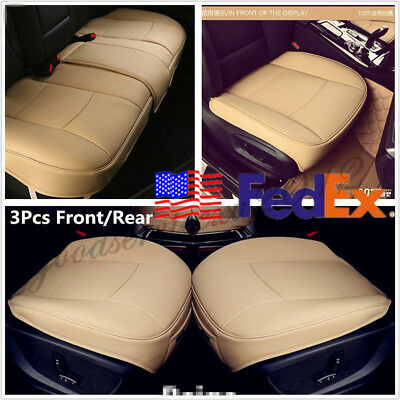 USA Shipping 3 Pcs PU Leather Car Seat Cushion Front+Rear Covers Beige Universal
