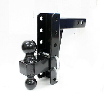 HD Dual Tow Ball Hitch Mount Adjustable Drop Raise Trailer Hitch Towing RV Truck