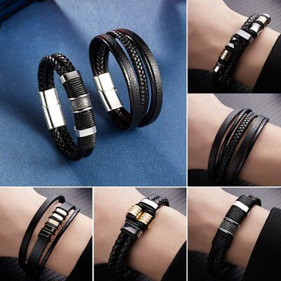 Punk Men's  Multilayer Leather Black Bangle Cuff Braided Bracelet Chain Jewelry