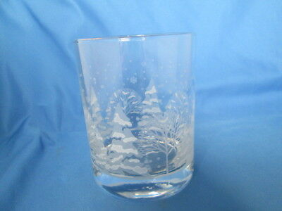 Rare Vintage Arby's Winter Snow Scene Etched Old Fashion Glass Gold Rim Worn