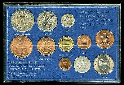 Great Britain Last £.s.d and First Decimal 11-Coin Set - Cracked Case