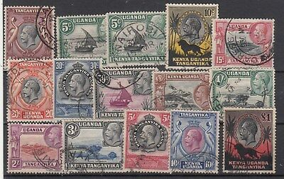 Kenya Uganda Tanganyika: 1935 KGV Definitives SG 110-123. F/Used. Very rare set