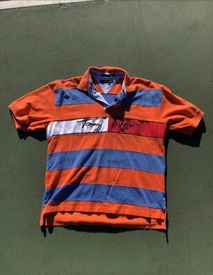 f9e2ffc4 Vintage Tommy Hilfiger Striped Spell Out Script Logo Polo Shirt Men's XL  90's