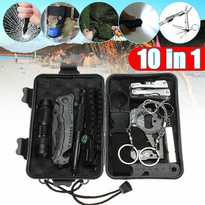 10 in 1 SOS Emergency Survival Equipment Kit Outdoor Camping Travel Hiking