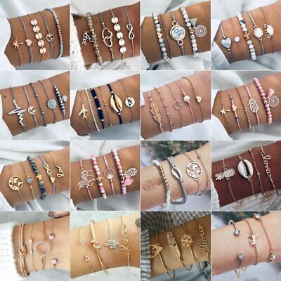 3-6Pcs Women Boho Tassels Beaded Bracelets Rhinestone Bangle Chain Cuff Jewelry