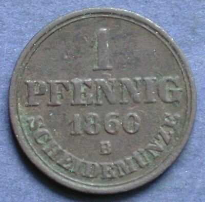 Moneta Coin German States Germania Hannover 1 Pfennig 1860 Old German States