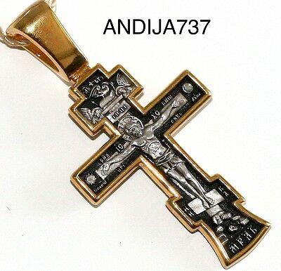 Russian Greek Orthodox Cross Silver 925+999 Gold. New Collection. Best Quality