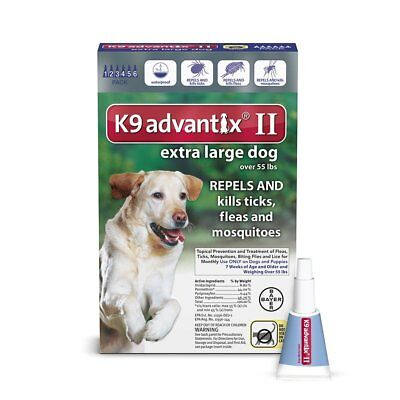 Bayer K9 Advantix II Flea Prevention for Extra Large Dogs Over 55 lbs - 6 Pack