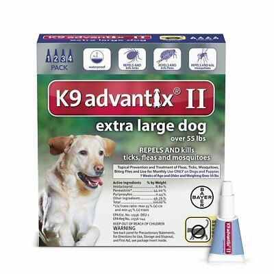 Bayer K9 Advantix II Flea Prevention for Extra Large Dogs Over 55 lbs - 4 Pack