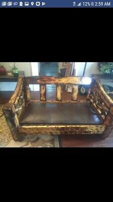 Custom Rustic Handmade Wooden Bench w/ custom leather seat