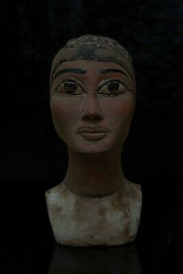 ANCIENT EGYPTIAN ANTIQUES EGYPT Statue Head of Nefertiti Mask Pharaoh Stone BC
