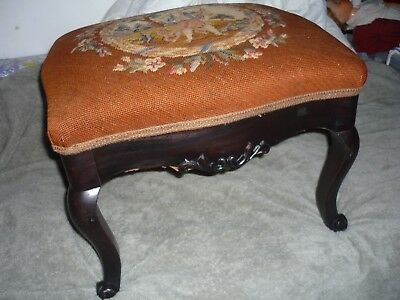 Antique vintage carved footstool w needlepoint  footrest ottoman