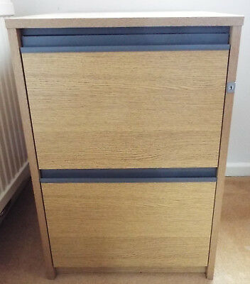2 Drawer Filing Cabinet - Light Oak Coloured Finish