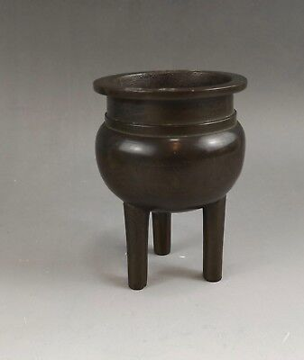 A beautiful Chinese 19C bronze tripod censer-Qing dynasty