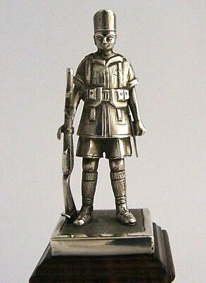 SOLID SILVER INDIAN ARMY SOLIDER STATUE MADRAS SAPPERS & MINERS c1920 5.5 inch