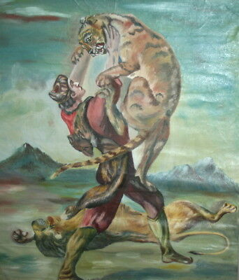 European Art, Antique Oil Painting, Male Fighting With Lions