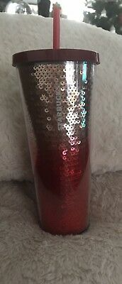 NEW 2018 Starbucks RED/GOLD OMBRE SEQUIN 24oz Cold Cup Holiday Limited Edition