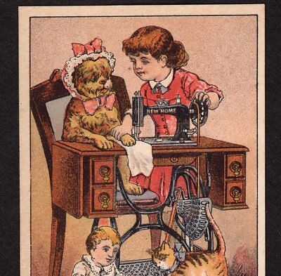 New Home Sewing Machine F Dunn Saccarappa ME 1800's Victorian Trade Card Cat Dog