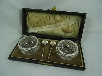 BOXED pair silver rimmed GLASS SALTS, 1924