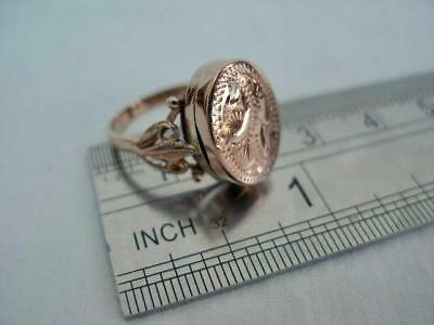 Contemporary Hallmarked 9 Carat Rose Gold Poison or Picture Ring Sheffield 1992.