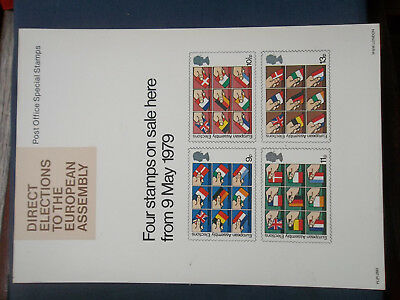 Royal Mail A4 Post Office Poster 1979 Direct Elections European Assembly Flags