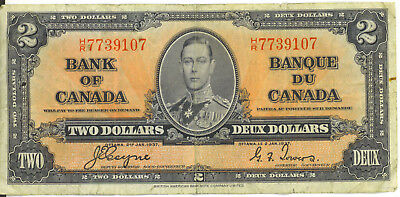 Bank of Canada 1937 $2 Two Dollars Coyne-Towers H/R Prefix F/VF