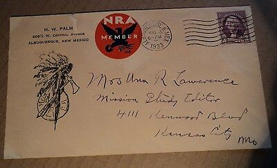 cover NRA Member postmarked 1933 vintage National Recovery Administration NM