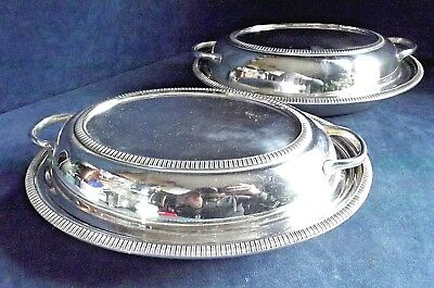 """Superb PAIR Large & Heavy 10"""" ~ SILVER Plated ~ SERVING DISHES ~ c1925"""
