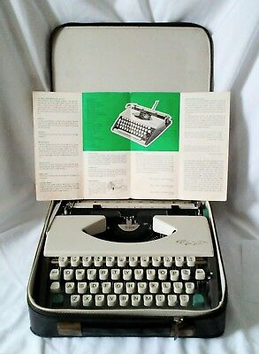 Vintage Olympia SF DeLuxe Typewriter, Cursive Font, Case, Pamphlet, W. Germany