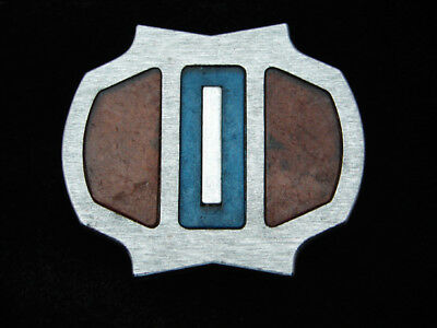 RB13165 VINTAGE 1970s **ABSTRACT** FASHION ART SILVERTONE BELT BUCKLE