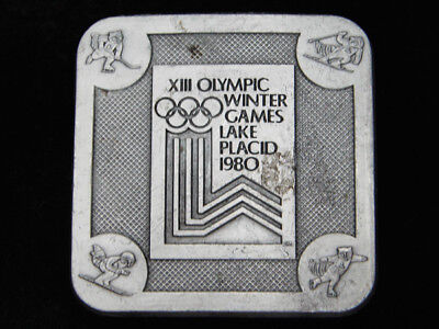 Qd03146 Vintage 1980 *Xiii Olympic Winter Games Lake Placid* Sports Belt Buckle